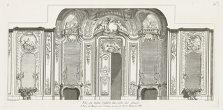 Symmetrical view of interior decoration with four mirrors and central double doors. Each mirror and door decorated with overhanging. Left: two putti in rocaille frame, one playing lute; second from left: group of ladies sitting in a trompe l'oeil balcony as though at the theater; central overhanging: two classical female figures flank empty crowned cartouche; right of center: three formally-dressed ladies in trompe l'oeil balcony; far right: two putti, one with bow and arrow with boar. Each mirror is heavily decorated with shells, leaves and two or four candles.