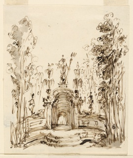 Amid trees, a fountain stands. Below a statue of Poseidon, between curved low walls flanked by figures, from a pavilion, water flows.