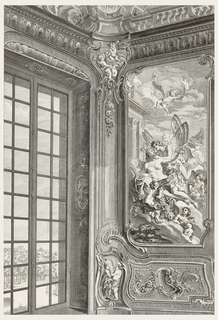 Large-scale drawing of a corner angle of Count Bielinski's Cabinet (1941-6-212-45), showing a window at left and a full-view painting of Zephyr and Flore at right. The painted shows a winged Zephyr holding the chin of Flore, surrounded with putti and garlands of flowers.
