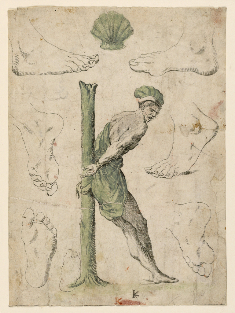 Central image of a man fettered to a tree trunk forming the letter K with additional drawings of six feet and a shell.