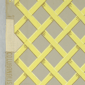 Yellow trellis design printed on gray ground.