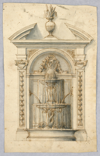 Aedicule with broken pediment and pilasters with bellflowers. At center, water flows from the mouth of a mask into a basin supported by two intertwining dolphins.