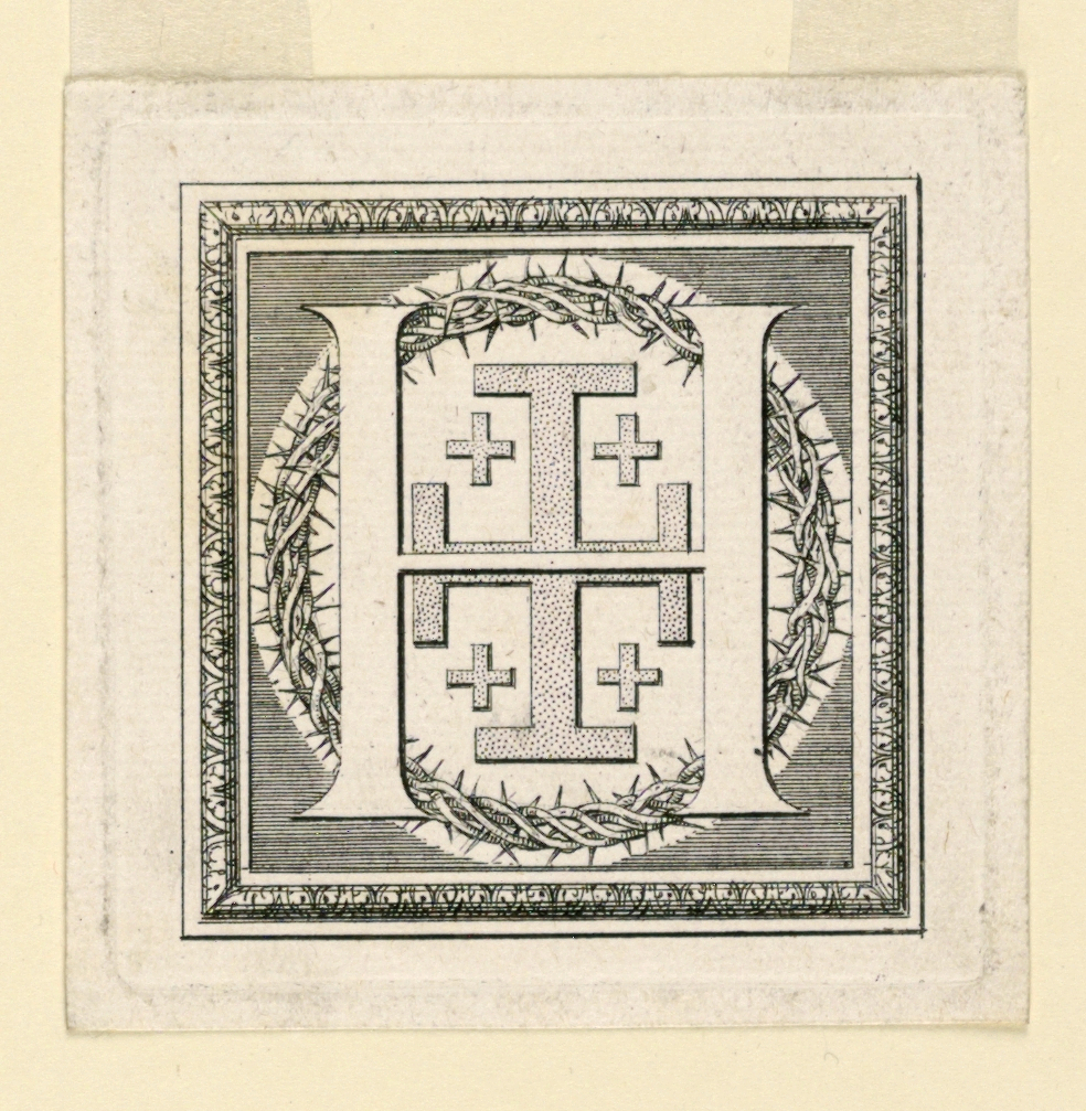 A:  [Meaume 23 I or 24 I.]  A shield, bendy of ten pieces, is suspended from the top of the G.  Two tiaras, two croziers, a pope's and an archbishop's crosses are shown in the rear.   B:  [Meaume 26 I.]  H before a Jerusalem cross and the crown of thorns.