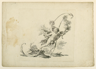 Cupid flying before an A, formed by scrolls.