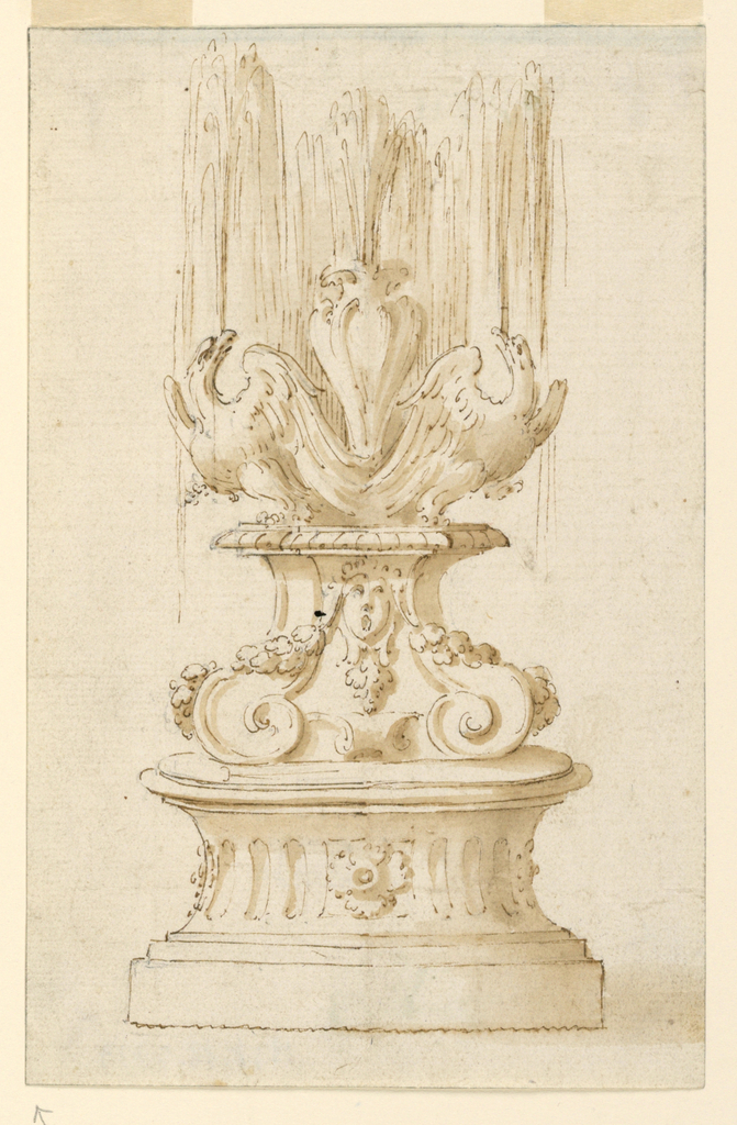 Drawing, Fountain with Two Eagles