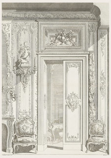 Elaborate engraving of wall elevation showing door through which is seen a partial view of Louis XV table and chair. To left of door a Louis XV chair. Partial view of fireplace, an elaborate wall bracket with two lights and central mask, two birds on top of wall bracket. In a niche above door, an urn filled with flowers and leaves. Walls are highly carved in period boiserie.