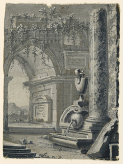 Vertical rectangle. Fountain in ruins near columns. Ogival arch in background at left, garden scenery. Grisaille.