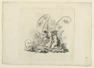 Narcissus gazing into the water, shown against the letter, which is formed by scrolls and flourishes.