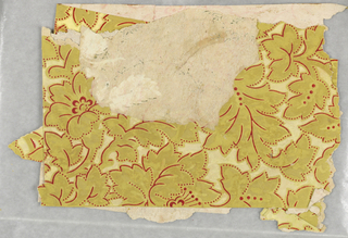 An all-over leaf and floral design printed in mustard yellow with gold and mica highlights.