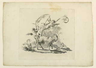 """Scherzo."" Two putti and a goat, shown respectively against and in the letter, which is formed by scrolls and flourishes."