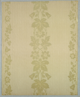 Flocked floral stripe, on printed stripe background, beige flocked floral stripe on irridescent striped ground.