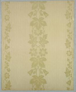 Flocked floral stripe, on printed stripe background, beige flocked floral stripe on irridescent striped ground.