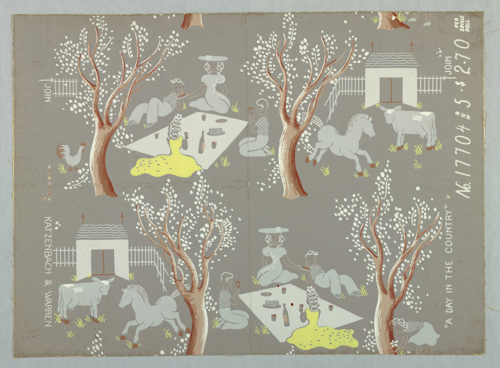 Repeat design of two scenes: four people at a picnic under a tree and cow and galloping horse in a barnyard.