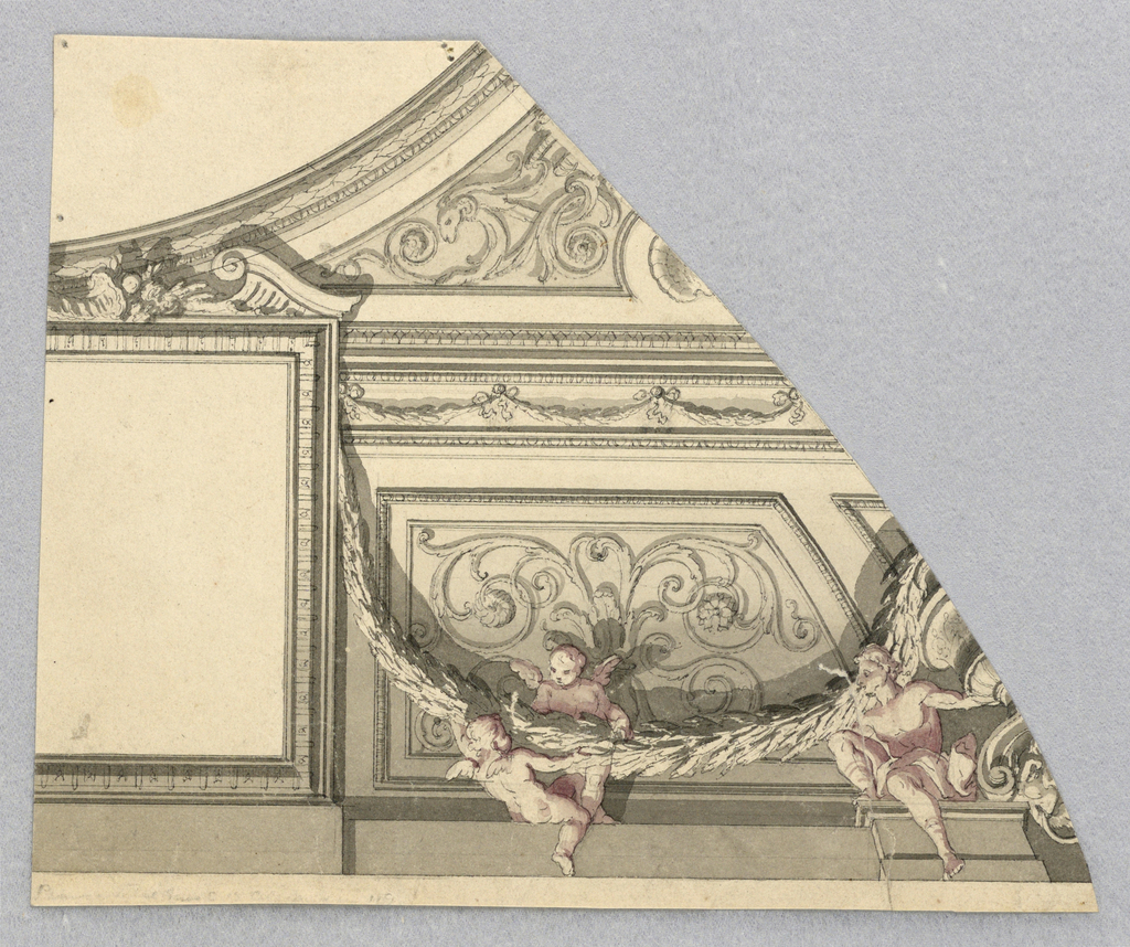 Irregularly shaped page. At top left, a curving moulding. To the right of this, scrolling ornament with a ram's head. Below, to the left: an undecorated square. To the right a swag held aloft by two putti who cast shadows onto a scrollwork panel behind.