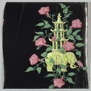 Pagoda-like structure perched upon elephant, with pink morning glories growing up around. Printed on glossy black ground.