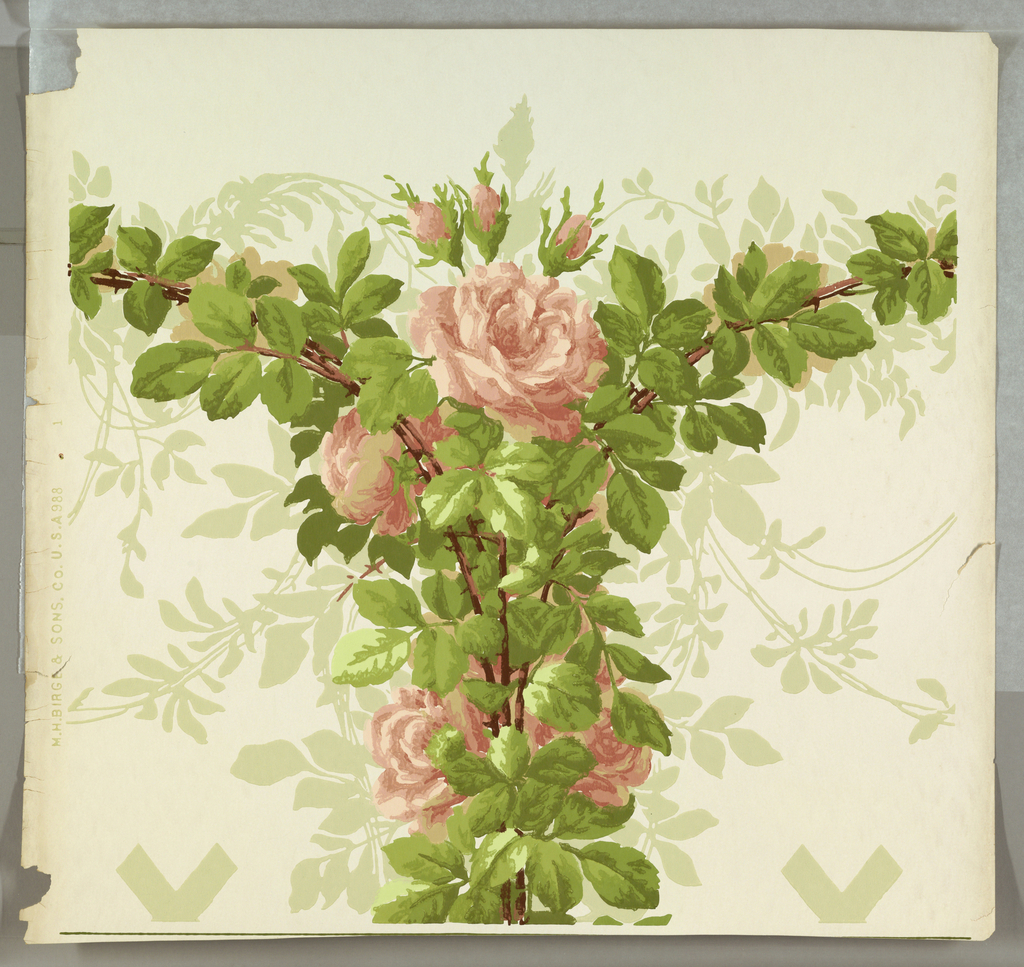 a) Diamond-diaper trellis in gray-green on white ground; b & c) Diamond-diaper trellis in gray-green on white ground with green and gray-green vines along length of center of panel; c) Frieze: trellis top, pink roses, with foliage in green and gray-green on white ground; d & e) continuation of frieze, horizontal banding of pink roses.