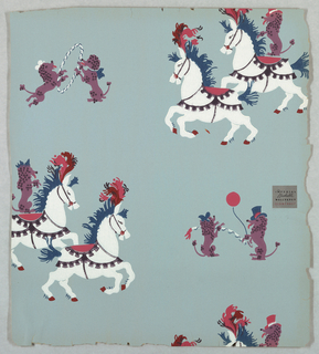 Horses and dogs appearing as circus animals. Dogs wearing top hats and waiving ballon, jumping through hoop, dog riding on horseback, horses prancing.