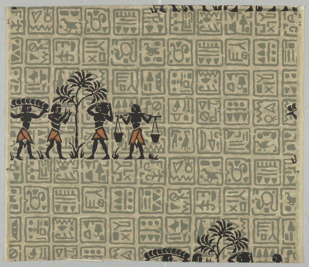 Horizontal rectangle, a full width, giving less than one repeat. Variegated background, overprinted with pseudo-Egyptian hieroglyphics, which in turn are overprinted with drop-repeating group of four Egyptian workers in silhouette.