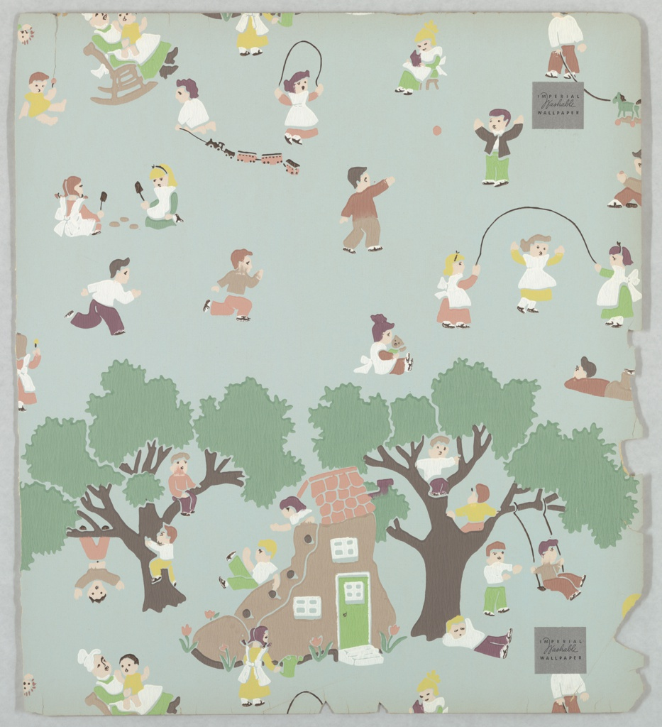 """Children's wallpaper illustrating the nursery rhyme: There Was an Old Woman Who Lived in a Shoe."""" At the bottom of the sample is a house in the shape of a shoe, set between two trees. The rest of the pattern is filled with children, playing on the shoe and in the trees, jumping rope, playing with a train set, swinging, and tossing a ball. Printed in colors on a green ground."""