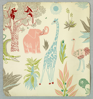 """African Jungle"": Designed by Zue Martin. Motifs are jungle animals, including elephant, crocodile, giraffe, ostrich, lion and a pair of monkeys in a tree. Other exotic plants are also interspersed. Printed in pastel shades of pink, blue, green and red on white ground."