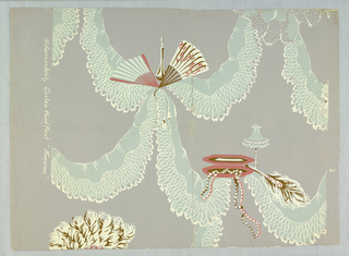 Design (incomplete) shows fans, jewels and case, connected by ribbons.