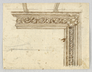 At corner, an escutcheon flanked by suggested mouldings. At left, an acanthus rinceau for the frieze. Below, upright acanthus. Two ceiling beams above.