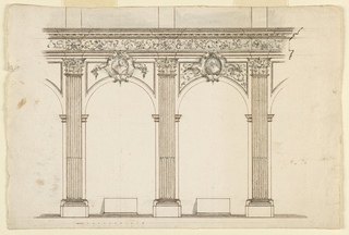 Drawing, Wall Elevation with Alcove, 1725–50