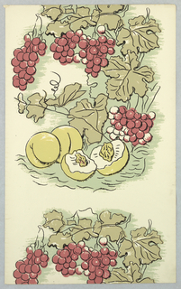 """Pages removed from sample book, including Tulipe de Juoy: 4 colorways of tulip and pineapple diaper; Abington: 4 colorways of diamond and circle pattern; Rose d'Alsace: 2 colorways of large-scale vining fruit and floral; Fruit de Saporetti: 2 colorways of peaches and grapes; Salem: 2 colorways of honeycomb-like design; Poseiden: sea myths printed in shades of green; Federal: vining floral; French Farm: animals, vegetables and madame on white; La Colombè: doves and ribbons. *Remainder of sample book after pages removed and accessioned as 1948-65-1-a/r*Cover reads: From the Greef Collection; Hand Printed Wall-Papers, Documentary and Contemporary."""" """"Book 1"""" in lower left hand corner.  Eighty five single sheets of wall-paper - number, price and other data written on the back of each sheet - explanatory sheets with photographs and small complementary fabric samples are included with some samples."""
