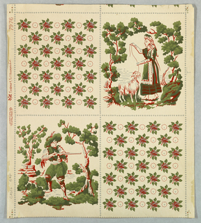 Vertical rectangle, divided into squares. Square at top right shows peasant girl with goat. At lower left, huntsman with gun. These two scenes alternate with squares which contain rows of alternating small roses and circles. Gray, red and green used throughout, on white ground.