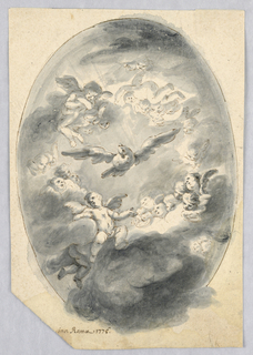 A glory of angels in the clouds with the Dove of the Holy Spirit in the center.