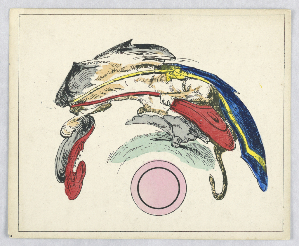 On cream ground, a curving and distorted representation of a cat wearing gray boots, likely the character of Puss in Boots. He holds a red and gray feathered hat in his right hand, carries a red bag, and wears a blue cape with yellow trim. Some indication of grass below his feet. At bottom center, a pink circle with a concentric black circle outlined within, indicating the placement of the cylindrical mirror for viewing. Rectangular framing line.