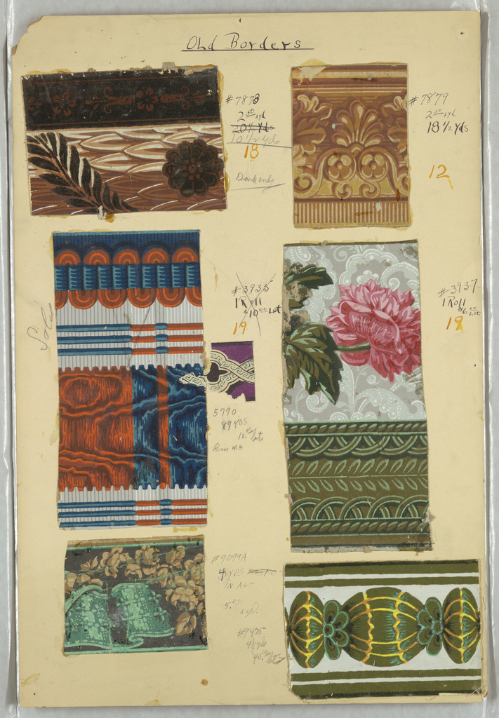Eight swatches of wallpaper borders, including fancy gimp, ribbons, architectural moldings, moire, floral.