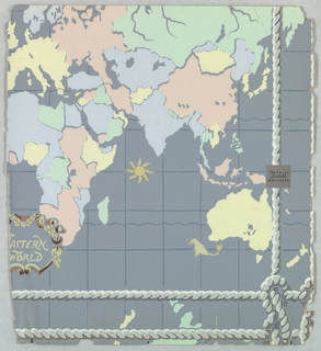 Map of the Eastern World, showing Asia, Middle East, Africa and Australia. A double rope or cable molding runs below and along the right edge. Printed in pastel colors on gray ground.