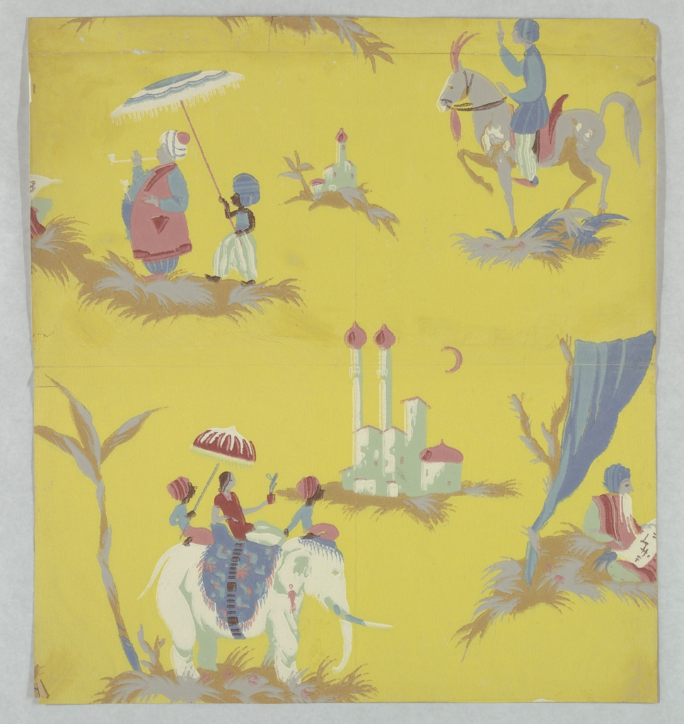 Possibly a children's paper containing five views of the Far East: architectural compound with two tall towers or columns topped by onion domes, a crescent moon overhead; two men and a womanl ride the back of an elephant, the back male holds a parasol over the woman; two male figures walking, the second figure holds a parasol over the front larger figure who is smoling a pipe; a man riding a plumed horse; a man sits under a fabric-draped tree. Printed in colors on a yellow ground.