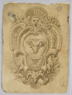 An escutcheon with a ram's head and cup at center. Above, a mask crowned with a shell. Frame is composed of strapwork with flora and a smaller ram's head.