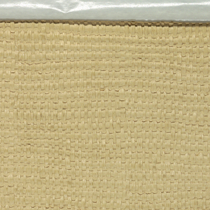 Simulates straw matting. Highly raised embossing. Cream colored. The horizontal filler is thicker than the warp member.