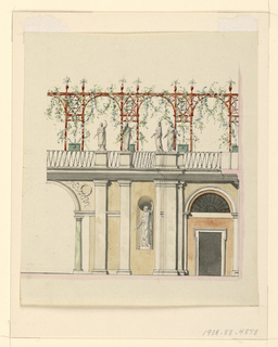 Design for a garden wall and terrace.  A parallel colonnades supporting an open roof of cross rafters.  The terrace is decorated with four statues and plants growing on the rafters.  On the colonnade level, a statue is placed in the wall niche.