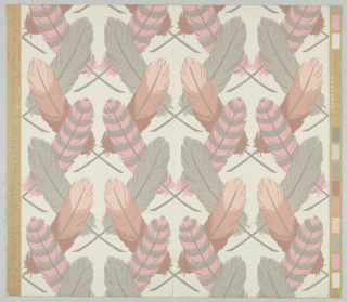 Design of crossed feathers, printed in shades of pink, red and gray on a light gray ground.