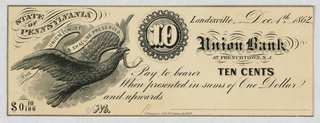 Odd States 1830 - 1860s  City of Wilimington, 5 cent note State of Pennsylvania, 10 cent note