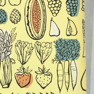 Line drawings of summer fruits and vegetables, some color shaded, lined up in rows.