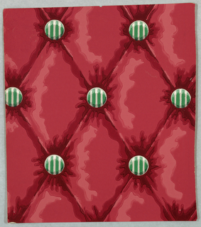 Button-tufted textile imitation. Green and white striped buttons create diamond trellis pattern in deep red simulated textile.