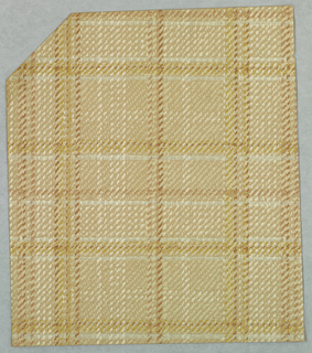 Imitation of a woven textile. Pink, tan and brown plaid design.
