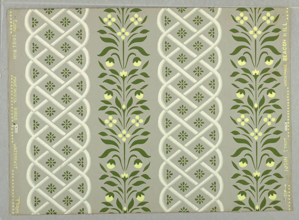 "Vertical trellis stripes alternating with vertical flowering vines. ""a"": green and white and yellow on gray ground; ""b"" cream and red and blue-gray on blue-gray ground."