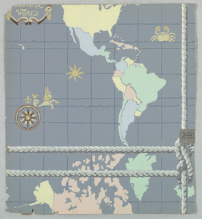 Portion of a map showing the United States, Central and South America in the top section. A rope or cable molding runs below dividing the map, then Alaska and Northwest Territories. Printed in pastel colors on a gray ground.