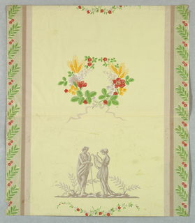 Reproduction of Federal-style paper containing a view of two classically dressed female figures, one leans on a staff, the other holds a lyre. This alternates vertically with a floral wreath with wheat tied with ribbon at bottom. Sprigs of laurel leaves separated by two red berries form bands up either side. Printed in colors on light yellow ground.