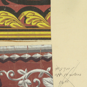 A group of four borders mounted on a board. The motifs include egg and dart architectural molding, beading, and floral motifs.