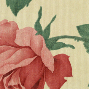 Large red roses on stems with green leaves, printed on a white ground.