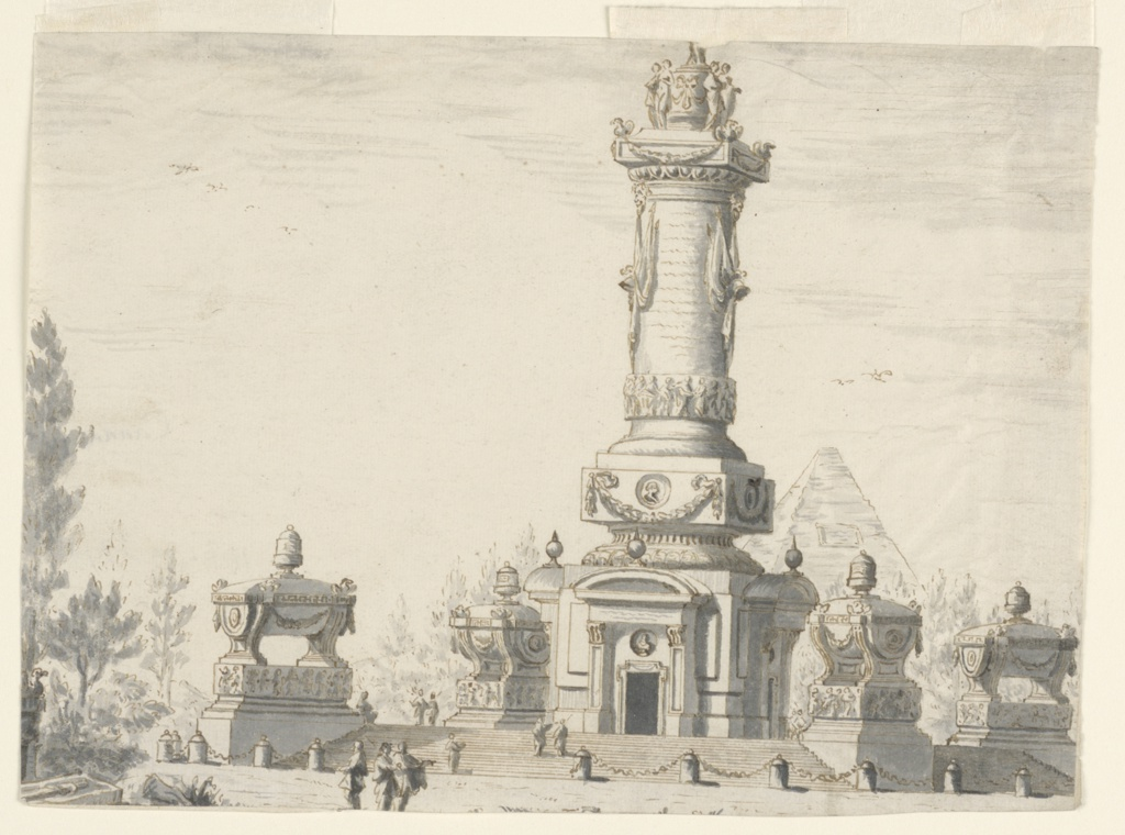 Horizontal rectangle showing a view of a large column form sepulcher monument upon a terrace with four small structures. Visible behind is a truncated pyramid. Small figures of men gesture to the edifice.