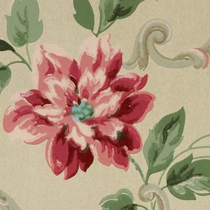 Design of flower sprays growing out of scrolls on ribbed ground. Printed in pink, blue, yellow, gray on white ground.