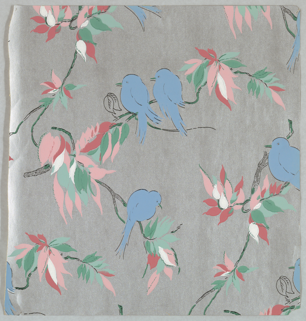 Blue birds sitting on branch with pink and green leaves, printed on a silver ground.